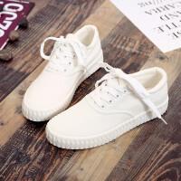 环球 女鞋小白鞋夏季女2017新款百搭韩版休闲鞋学生板鞋厚底帆布鞋