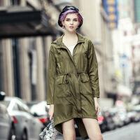 欧美春款新款女士军绿色长袖腰带不规则中长款风衣外套 绿色