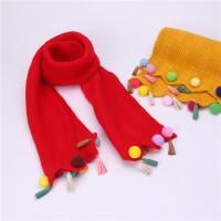 韩版秋冬季儿童围巾时尚彩球流苏女童保暖针织毛线围脖中童冬天潮