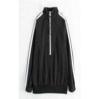 卫衣女长袖 运动外套拉链加厚加绒上衣 黑色