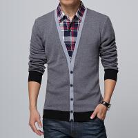 春季长袖T恤男士宽松假两件衬衫领加肥加大码t恤韩版青年上衣胖子