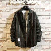 新款条纹长袖衬衫潮流男士版帅气大码衬衣式秋装寸衣男外套