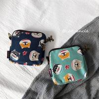韩版帆布少女拉链零钱包 ins日系布艺月事包卫生棉包学生卡包钱包