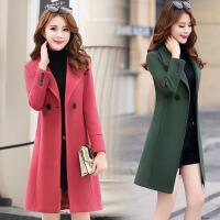毛呢外套女中长款加厚尼子冬天2017新款韩版呢子女士中款妮子大衣
