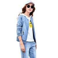 运动套装女款三件套春秋季新品牛仔棉连帽长袖潮流休闲户外女运动装套装 蓝色
