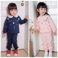 小猫卫衣 金色线条 女童/童装 运动套装 套头棉毛圈运动服 两件套