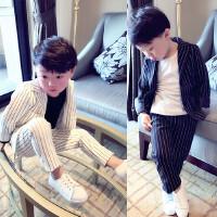 男童西装套装儿童条纹春装两件套男宝宝西服新款男宝礼服韩版