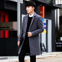 秋冬季男士中长款风衣韩版修身帅气毛呢外套青年英伦风大衣潮 9985灰色 M
