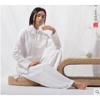 瑜伽服套装女宽松中国风白色棉麻休闲瑜伽服套装瑜珈服太极禅修居士服女支持礼品卡支付