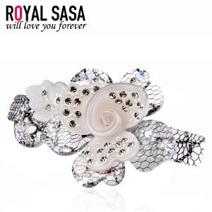 皇家莎莎Royalsasa韩国头饰时尚流行新款弹簧夹彩钻盘发夹发饰-玫瑰蕾丝