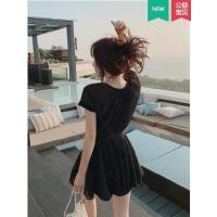泳衣女韩国ins分体沙滩裙超仙保守黑色显瘦遮肚性感三件套韩国