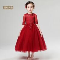 冬款酒红色花童生日婚纱钢琴蓬蓬裙长款冬 女童公主裙儿童礼服长袖