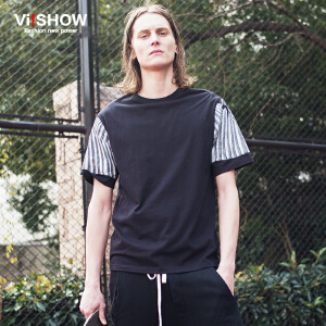 viishow夏装新款短袖T恤 欧美简约短袖T恤男 拼接纯色短袖t潮