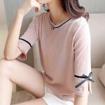 圆领夏装短袖系带T恤女2018新款冰丝薄款打底衫宽松亮丝中袖上衣