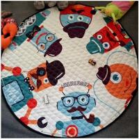 儿童玩具收纳袋地垫垫子宝宝爬行垫玩具收纳棉质圆形地毯加厚客厅地垫儿童可折叠 直径1.5米