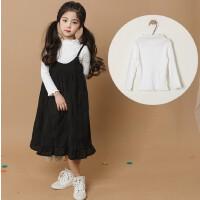 女童打底衫母女装秋冬新款韩版童装中大童纯棉坑条木耳边T恤