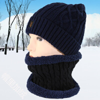 男士套头帽子围脖冬季中老年加绒毛线帽护耳保暖加厚老人帽子脖套
