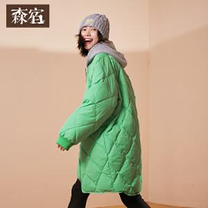 森宿Z棒球少女冬装新款纯色文艺菱形格棒球服长款羽绒服女