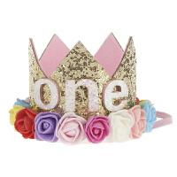 生日帽儿童宝宝周岁生日帽子花朵皇冠生日派对布置装饰装扮用品