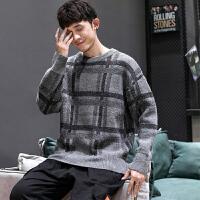 毛衣男士秋季新款日系时尚格子撞色圆领上衣青年加大休闲针织衫潮