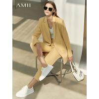 Amii休闲职业小西装套装女2021春新款时尚外套洋气减龄西服两件套/预售5月25日发货
