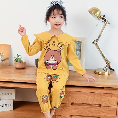 儿童睡衣女春秋季纯棉长袖女童中大童女孩家居服套装