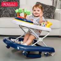 唯乐宝 婴儿学步车6/7-18个月宝宝防侧翻多功能儿童U型学行车折叠带音乐