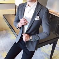 2017秋冬款男士休闲西装修身青年英伦婚礼服职业装西服男商务正装 浅灰色 L