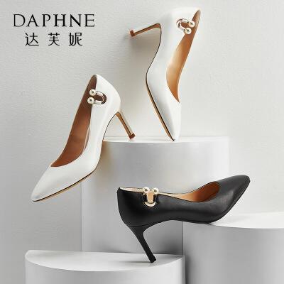 Daphne/达芙妮 春季优雅珍珠气质小方头浅口细高跟鞋单鞋 支持专柜验货 断码不补货