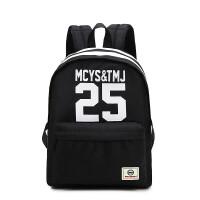 新款男士书包学院风学生双肩背包女数字旅行包djy 黑白色