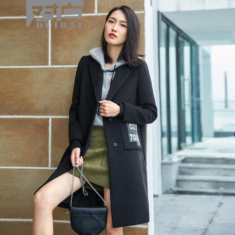 对白字母刺绣毛呢外套女中长款韩版冬季新款驼色呢大衣不对称设计精致刺绣大气翻领直筒版型