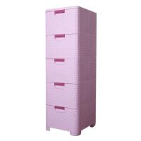 塑料五斗柜 多层床头柜抽屉式橱厕所用品整理箱卫生间储物柜子 粉红 正面宽35公分
