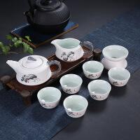 【品牌热卖】工夫茶具套装玉瓷陶瓷茶具盖碗茶海茶杯青花瓷喝茶德化茶具 雪花釉茶具9件套 -款二