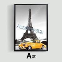 埃菲尔铁塔壁画巴黎埃菲尔铁塔欧式黑白建筑汽车装饰画客厅现代壁画挂画卧室墙画 60*80 经典黑框 单幅价格,多幅请加入