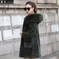澳洲羊羔毛皮毛一体大衣女中长款狐狸毛领连帽羊剪绒皮草女装外套