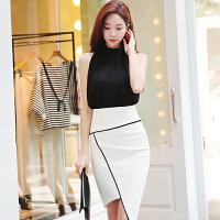 2018夏季新款女装潮性感气质漏肩春小心机温柔风两件套装时尚夏天 黑色上衣+白色裙子-套装