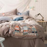 家纺水洗棉四件套 全棉 纯棉小清新男孩1.2米床三件套床上用品4 机器人