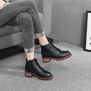 毅雅2017秋冬季女鞋复古系带马丁靴女英伦风圆头高跟粗跟防滑短靴靴子