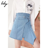 Lily2018春新款女装高腰修身系带短裙不规则牛仔短裙118110G6801