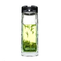 富光双层玻璃杯G115-280ml/320ml凹点杯身透明带盖泡茶男士水杯