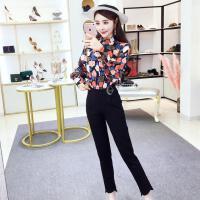 女神范2018春季新款韩版时尚气质印花打底衫修身显瘦小脚裤两件套