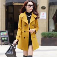 毛呢外套女中长款2016秋冬新款韩版女装气质修身呢子大衣外套潮女