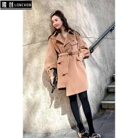 韩版20秋季新款驼色宽松呢子大衣毛呢外套秋冬风衣女中长款 驼色