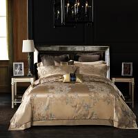 伊迪梦家纺高档真丝四件套色织大提花双面宽幅桑蚕丝绸缎床单被套结婚庆床上用品高端套件BJ15