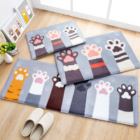 可爱猫爪地垫卧室床边儿童房卡通地毯浴室防滑垫长条长方形入门垫 灰底猫的印记地垫