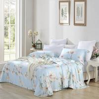 美颂天丝竹纤维夏季软席三件套空调凉席1.8m床可机洗水洗 栀子花开(雾蓝)