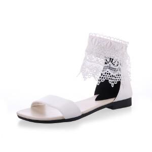 ELEISE美国艾蕾莎新品151-663-1学院磨砂绒面蕾丝平底女士凉鞋