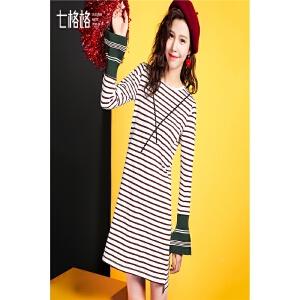 个性撞色连衣裙春秋装新款韩版条纹拼接喇叭袖口圆领套头裙子
