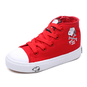 史努比童鞋新款男童中帮布鞋儿童帆布鞋中小童休闲鞋