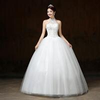 婚纱礼服 新娘齐地韩式公主挂脖大码显瘦婚纱绑带2017秋冬新款